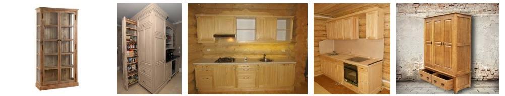 Кухонные шкафы из массива сосны, фото