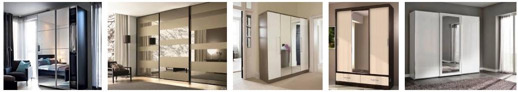 Деревянные шкафы с зеркалами - иллюстрация, фото, коллаж
