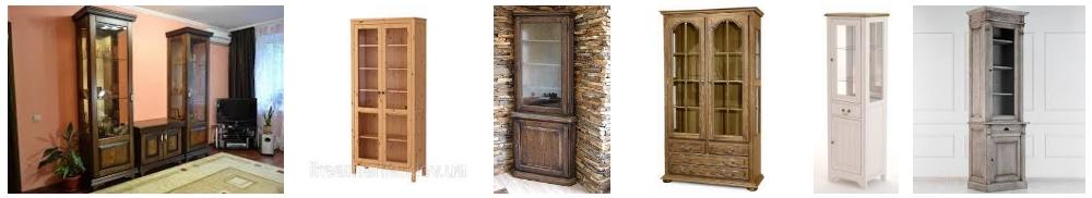 Шкафы-витрины из массива дерева, фото