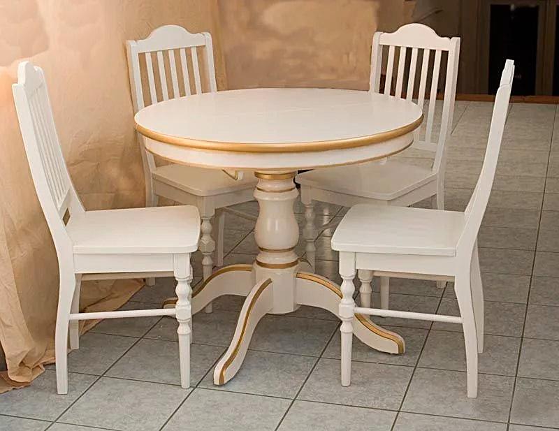 обеденный стол муромец белый с золотом